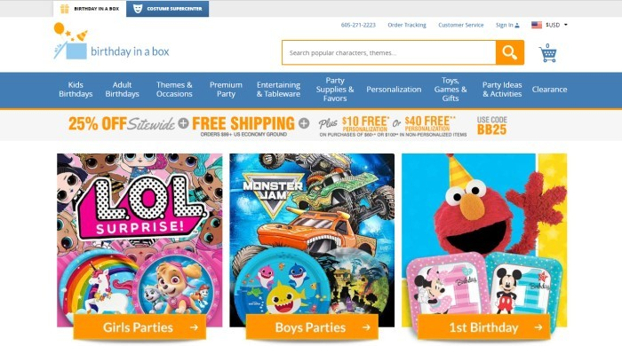 This screenshot of the home page for Birthday In A Box has a white header with blue and orange elements, a blue navigation bar, a gray sales bar with orange and gray text announcing free shipping and a 25% discount, and photos showing items for girl parties, boy parties, and first birthday parties.