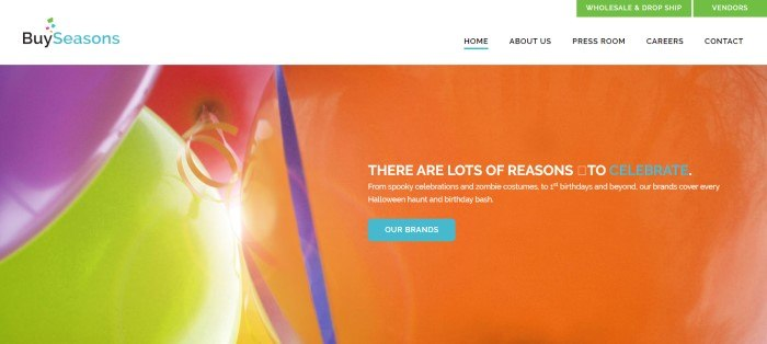 """This screenshot of the home page for BuySeasons has a white navigation bar with green call-to-action buttons above a main section featuring balloons in orange, pink, purple, and yellow, as well as a blue call-to-action button and text in white and blue that reads """"There are lots of reasons to celebrate."""""""
