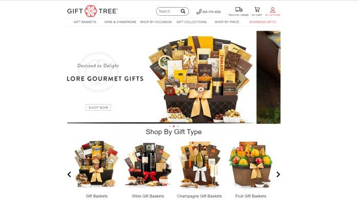 This screenshot of the home page of GiftTree has a white background, header, and navigation bar with the GiftTree Logo above an image of a basket full of chocolate in brown, gold, and white wrappers and an announcement for Lore gourmet gifts, as well as four smaller images of gift baskets containing gourmet foods, wine, champagne, and fruit.