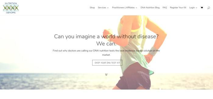 This screenshot of the home page for Nutrition Genome has a white navigation bar and a white background with a photo of a woman running along a beach, along with black text describing how DNA testing could lead to a world without disease.