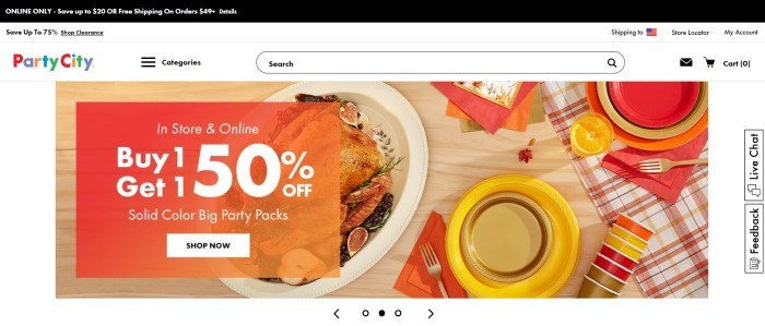 """This screenshot of the home page for Party City includes a black bar announcing free shipping and a $20 discount, a white 75% discount clearance bar, a white navigation and search bar with the Party City logo, and a main section featuring an overhead photo of a turkey dinner on a wooden table with tableware in gold, yellow, and orange, along with an orange """"Buy 1, get 1 50% off"""" sales announcement."""