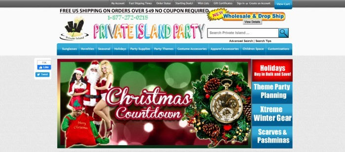 This screenshot of the home page for Private Island Party has a light gray background, black header, blue navigation bar, and a photo of two smiling girls snuggling up to Santa, along with a photo of a wreath, on a green and red background.