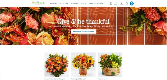 """This screenshot of the home page for ProFlowers has a white navigation bar above a photo of floral arrangements in pink, orange, and yellow lying on an orange and white plaid tablecloth, along with a white call-to-action button and white text that reads """"Give and be thankful"""" and a row of images of Autumn floral arrangements."""