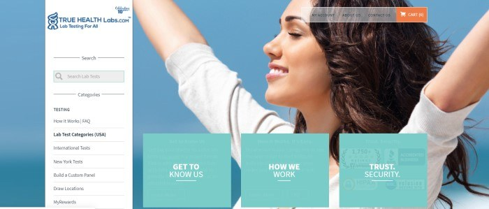 This screenshot of the home page for True Health Labs shows a smiling young woman with dark hair raising her arms in the air with her eyes closed, along with a white section for searching for specific tests and three aqua sections with clickable links to help customers learn more about the company.