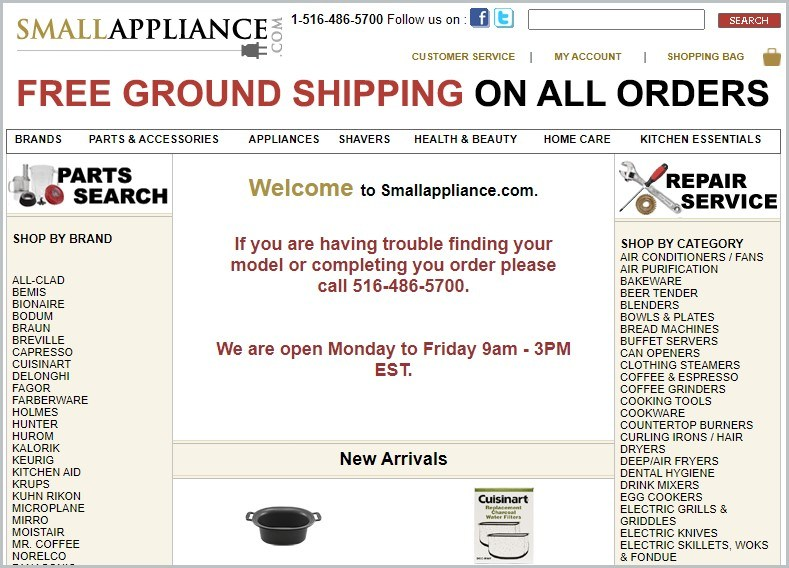 screenshot of SmallAppliance.com homepage, with white header with the website's name and search bar, it showcases a list of appliances brands and repair services offered
