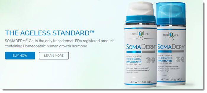 Two bottles of SomaDerm, along with text about the product