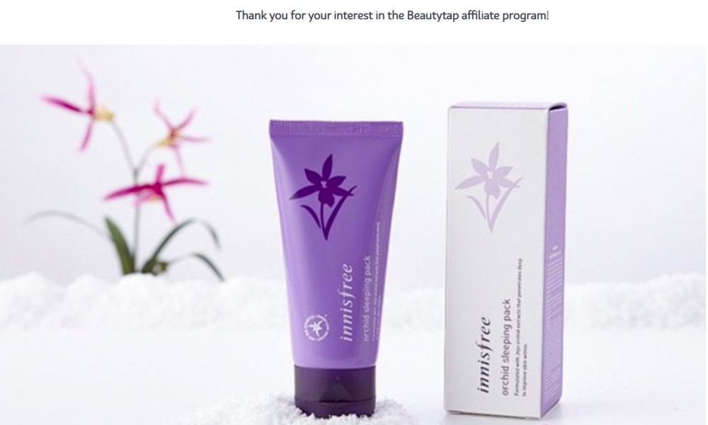 beauty tap affiliate sign up page