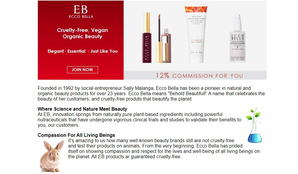 ecco bella affiliate sign up page