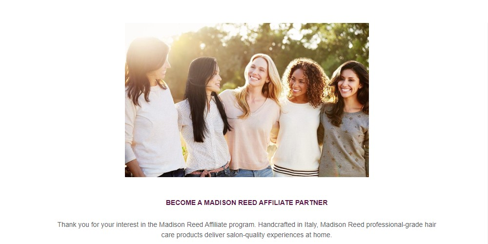 madison reed affiliate signup page