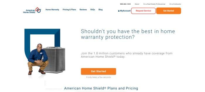 This screenshot of the home page for American Home Shield has a white background, an image of a smiling man with dark hair, a blue shirt, and brown pants crouching next to a central air conditioner and dark text announcing the best in home warranty protection, including two orange call-to-action buttons.
