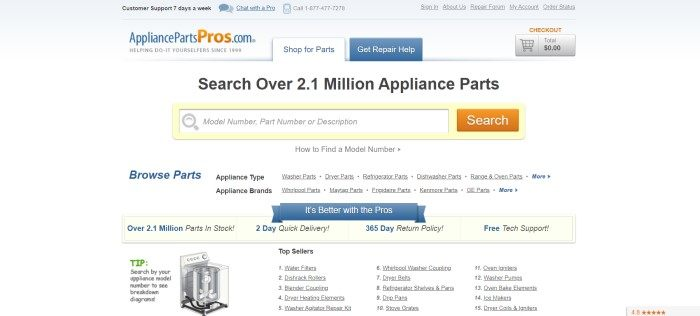 This screenshot of the home page for Appliance Parts Pros has a light gray background with blue and orange elements and black text, along with a yellow search bar inviting people to search the store's inventory of over 2.1 million appliance parts.