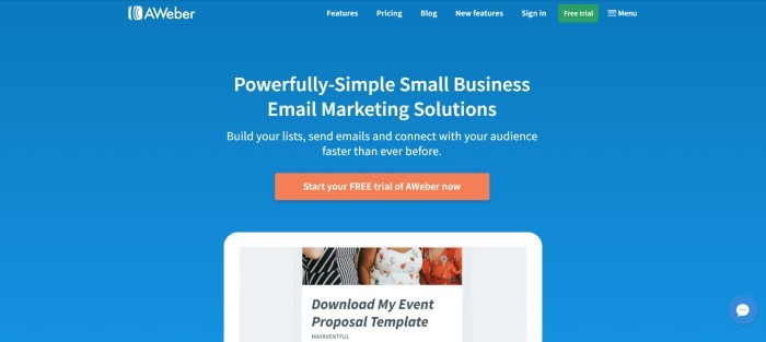 This screenshot of the home page for Aweber has a blue background with white text, a green call-to-action button and an orange call-to-action button for starting a free trial, wording that announces Aweber's email marketing solutions as powerful and simple, and a partial window for downloading an event proposal template.
