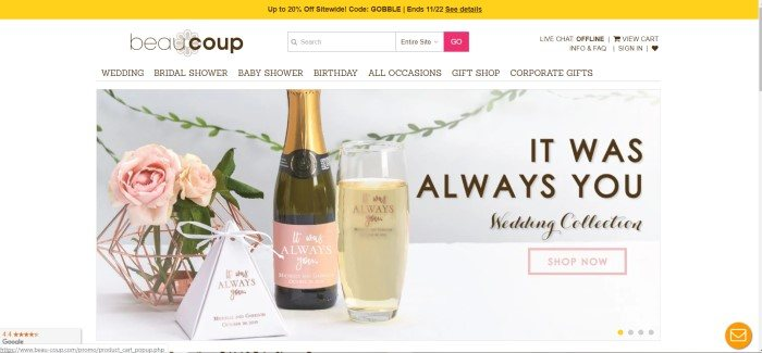 This screenshot of the home page for Beau-coup has a yellow header announcing a 20% off sale, a white navigation bar, and a large middle section with a photo of pink roses, a wine bottle, card, and glass of wine next to dark text that reads