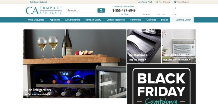 This screenshot of the home page for Compact Appliance has a white background, a teal navigation bar with white text, and a photo of a wine cooler with two glasses of wine and some apple slices on top of it, along with smaller photos of an ice machine and an air conditioner above an announcement for Black Friday sales.