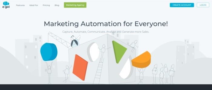 """This screenshot of the home page for E-Goi has a light gray background with graphics in gray, blue, green, and orange of stick-figure people putting shapes into a large cube in front of a cityscape, along with words in black text that read """"Marketing automation for everyone."""""""