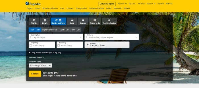 This screenshot of the home page for Expedia has a yellow navigation bar over a photo of an ocean beach, with a dark filtered section that includes search bars and information boxes for starting a travel plan search.