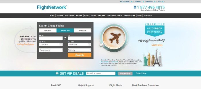 This screenshot of the home page for Flight Network has a photo of a cup of coffee with a decoration in the shape of airplane on the surface, along with a dark search window over a white background, and an aqua search bar near the bottom of the page.