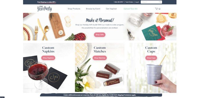 This screenshot of the home page for For Your Party has a white background with a black header announcing free shipping on some orders, above small photos showing items this company carries, along with pink call-to-action buttons for each section, which includes personalized items, custom napkins, custom matches, and custom cups.