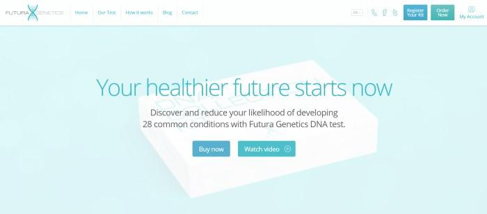 "This screenshot of the home page for Futura Genetics has a white navigation bar with aqua text above an aqua section with darker aqua wording that reads ""Your healthier future starts now"" along with black text describing how a DNA test can help people avoid disease and two aqua call-to-action buttons."