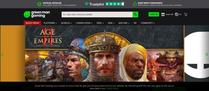 This screenshot of the home page for Green Man Gaming shows a large image of the Age of Empires, including graphics of a king in chain mail and a crown, an Native American in a feathered headdress, and other characters from the game.