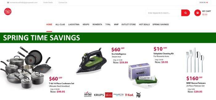 This screenshot of the home page for Home And Cook Store has a white background, a green and white announcement for springtime savings, and several small photos of small appliances and cookware, along with information on their current pricing.