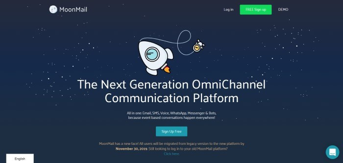 """This screenshot of the home page for MoonMail has a graphic background of a black starry sky with a moon and a rocket ship in space, with white wording that reads """"The next generation omnichannel communication platform,"""" along with a green call-to-action button and an aqua call-to-action button for a free sign-up."""