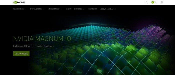 This screenshot of the home page for NVIDIA has a black background with a textured technical surface of green and blue squares, along with an announcement in green text for the Nvidia Magnum 10 and a green call-to-action button.