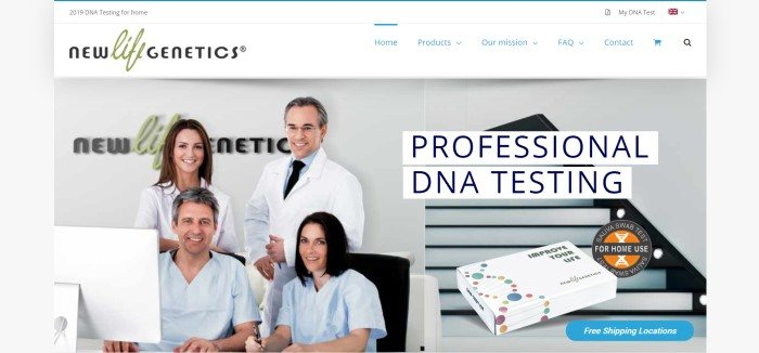 """This screenshot of the home page for New Life Genetics has a white navigation bar with the logo above a photo of a team of smiling doctors in white and blue healthcare professional clothing, as well as a photo of a DNA testing kit and black text reading """"Professional DNA Testing."""""""