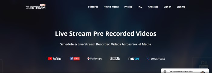This screenshot of the home page for OneStream has a black background with white text in the navigation bar and in the main section of the page, where it reads