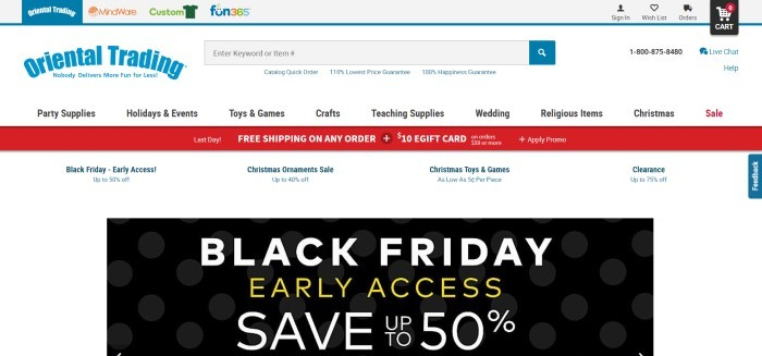 This screenshot of the home page for Oriental Trading has a white background, a red bar announcing free shipping, and a large black box announcing a Black Friday sale.