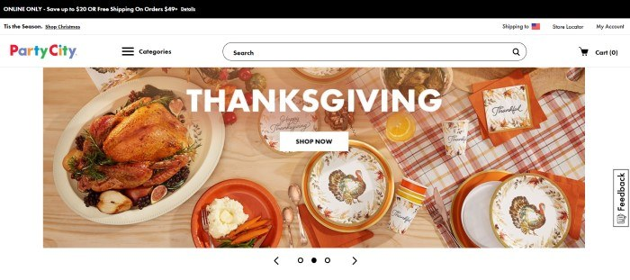 This screenshot of the home page for Party City has a black header and a white background, with a large photo of a turkey on a platter that is set on a table decorated with Thanksgiving paper products, along with a white call-to-action button.