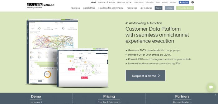 This screenshot of the home page for SALESManago has a white navigation bar and header with black text above a main section with a pale green background and an image showing two complicated-looking charts, along with black text announcing some of the perks of SALESManago and a dark gray call-to-action button for requesting a demo.