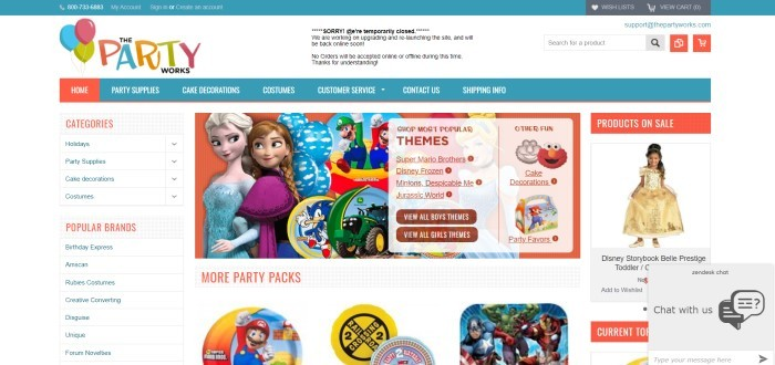 This screenshot of the home page for The Party Works has a white background with aqua and orange elements, a categories and brands bar on the left side, and photos of themed items sold by The Party Works, including Super Mario, John Deere, and Frozen products.