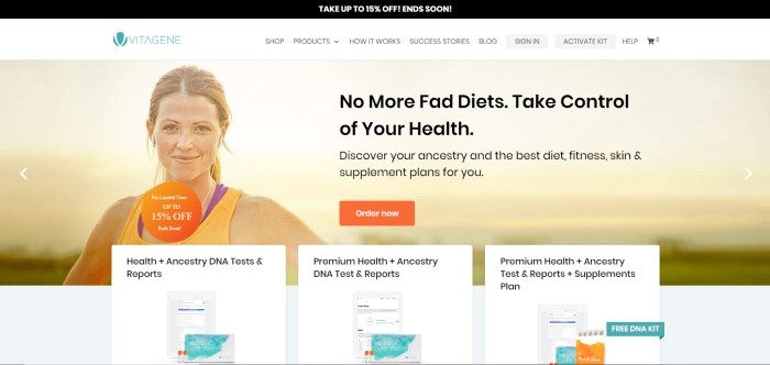 This screenshot of the home page for Vitagene as a black sales bar, a white navigation bar, and a main section of a smiling, healthy-looking young woman in yellow and purple exercise clothing, along with black text describing how knowing your ancestry can help you make good choices about food and lifestyle habits, as well as an orange call-to-action button.