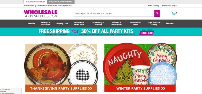 This screenshot of the home page for Wholesale Party Supplies has a white header with a search bar, a black navigation bar, and two photos of Thanksgiving paper goods and Christmas paper goods.