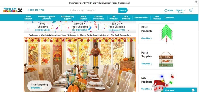 This screenshot of the home page for Windy City Novelties shows a table set for Thanksgiving Dinner, along with paper decorations, window clings, and other items sold by this company.