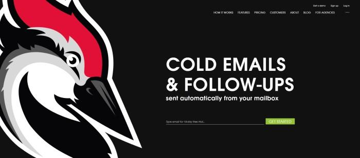 This screenshot of the home page pf Woodpecker.co has a black background with white wording and a large woodpecker head graphic in black, white, red, and gray next to an announcement for cold emails and follow-ups that generate more B2B clients, along with a green call-to-action button.