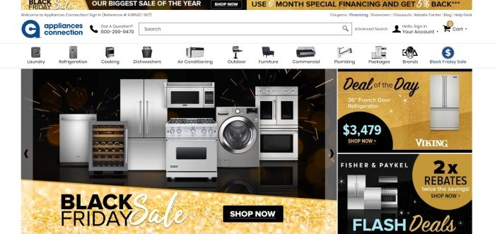 This screenshot of the home page for Appliances Connection has a white navigation bar, a gold and black header announcing a Black Friday Sale, a photo of several stainless steel appliances in a row, and a gold and black advertisement of a deal of the day.