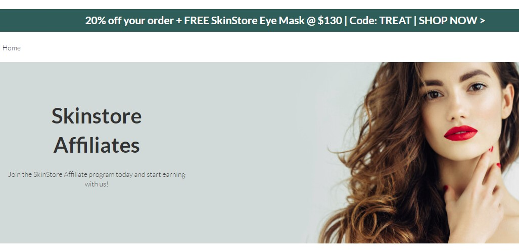 the skin store affiliate signup page