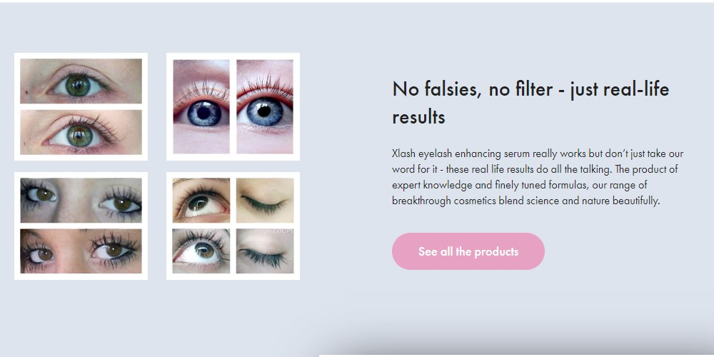 xlash cosmetics home page