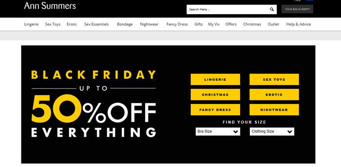 Ann Summers Website Screenshot showing a Black Friday sale