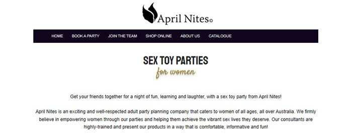 April Nites Website Screenshot showing black text on a white background