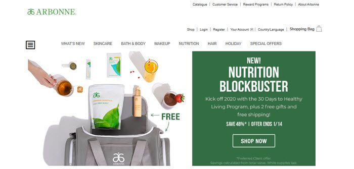 Arbonne Website Screenshot showing various products being put into a bag