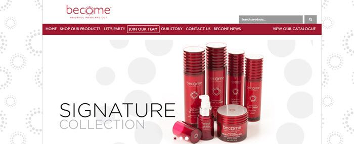 Become Beauty Website Screenshot showing a selection of skincare products