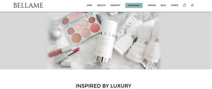 Bellame Website Screenshot showing various cosmetics