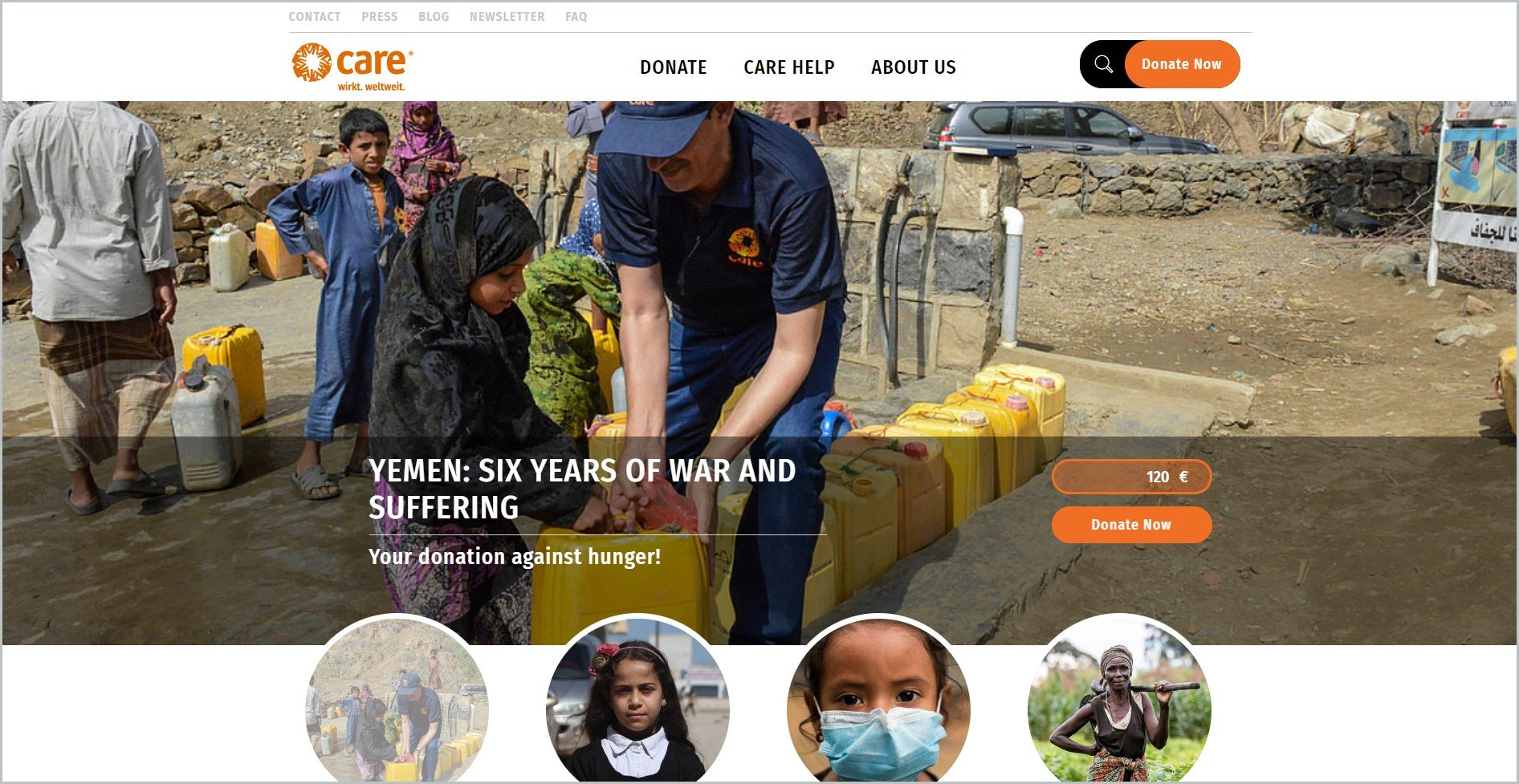 screenshot of CARE homepage with white header bearing the website's name and main navigation menu, it showcases an image of a volunteer helping a young girl with a yellow gallon of water