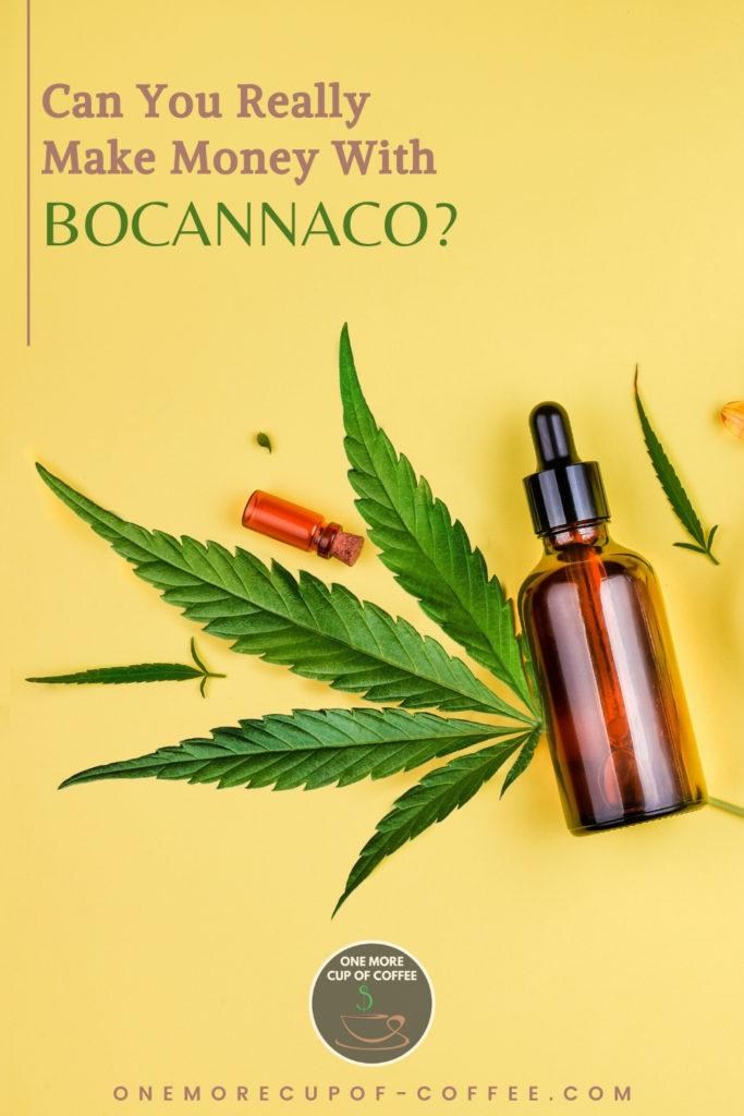 cbd oil in bottles and cannabis leaves against a yellow background, with text on top