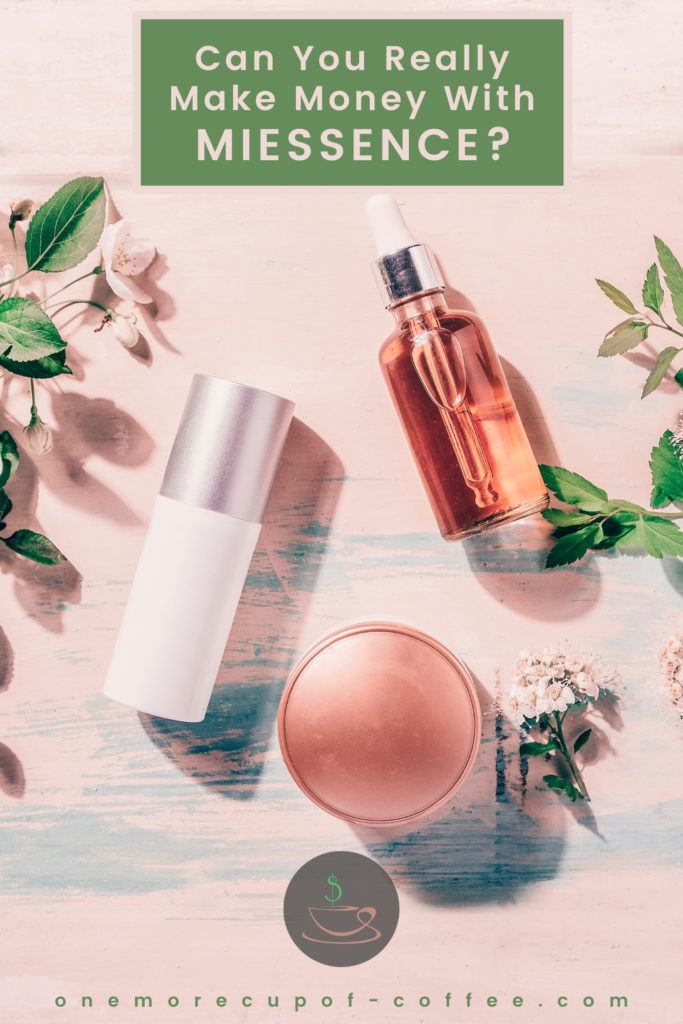 organic beauty products laid out in peach colored background with flowers and leaves around it, text at the top in green rectangular box