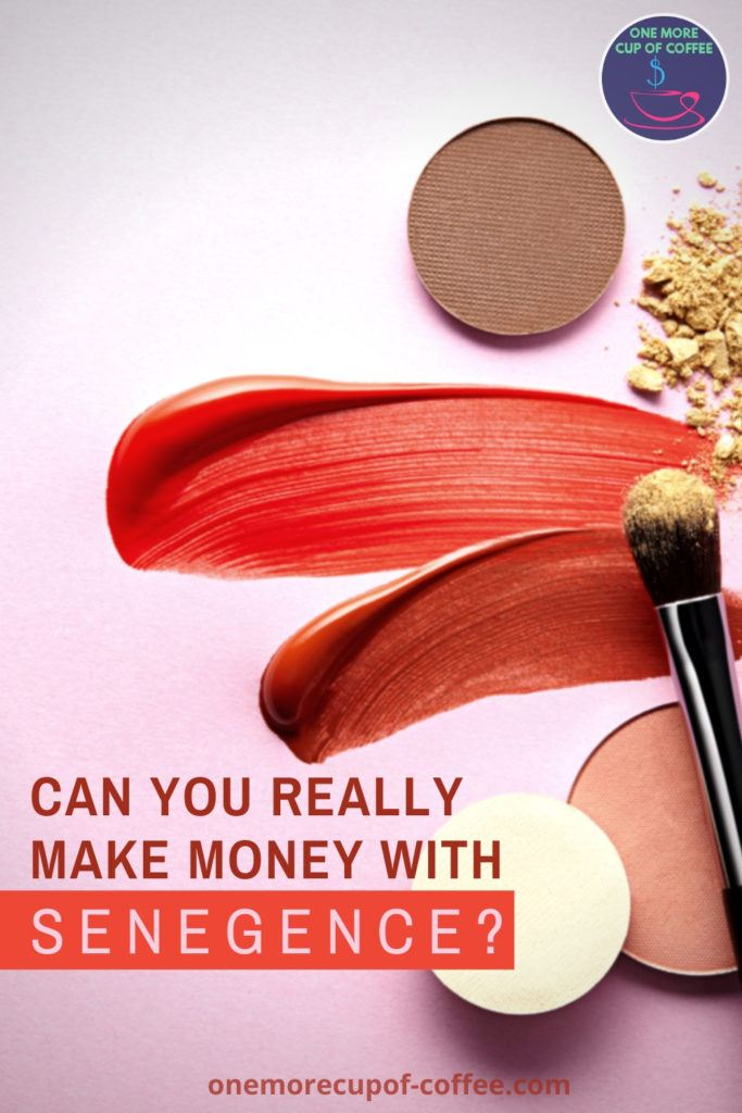 """eye shadows, liquid lip tints, and eyelid brush laid out on a pink background, with text at the bottom """"Can You Really Make Money With SeneGence?"""""""