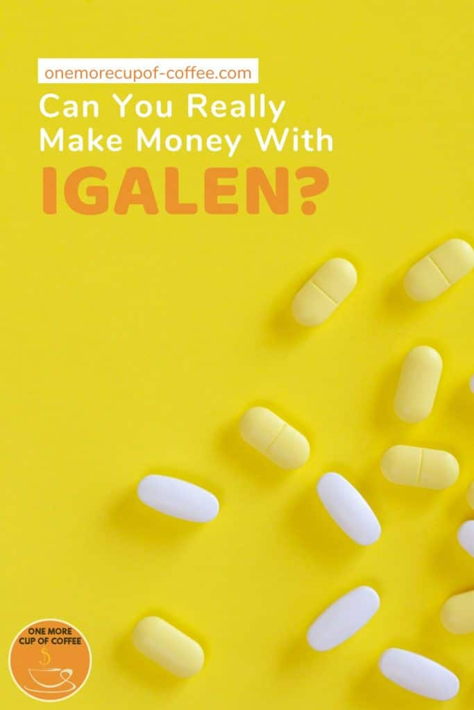 yellow and white capsules scattered against a yellow background, with text at the top